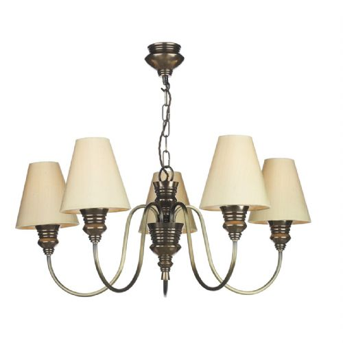 Dar Doreen 5 Light Pendant Bronze complete with Silk Shades (Specify Colour) DOR0500